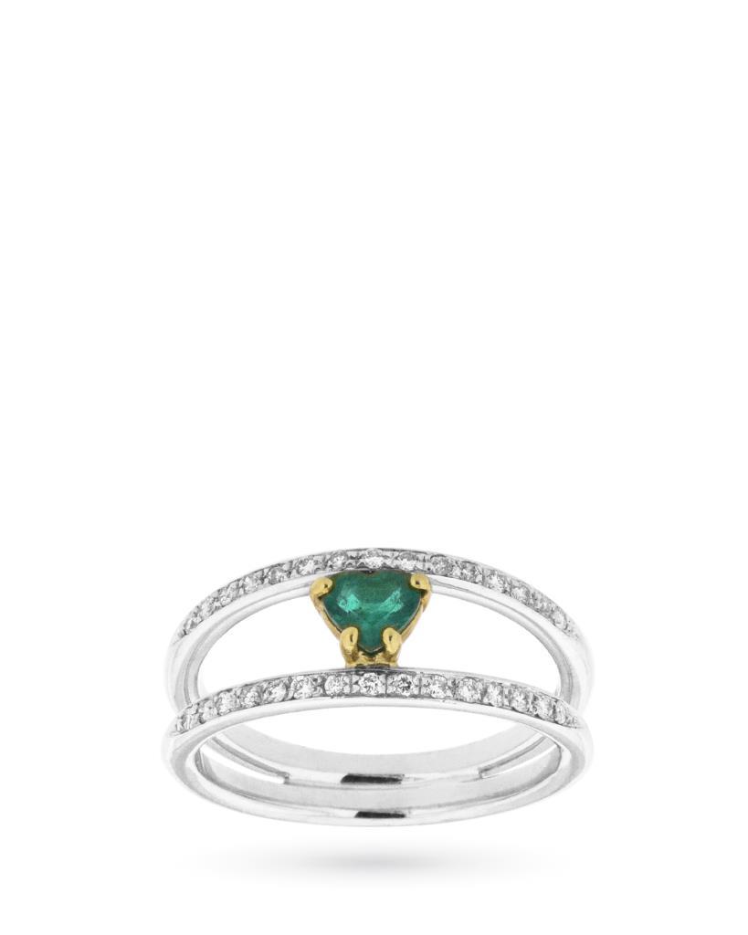 Anello con cuore di smeraldo e diamanti - CICALA