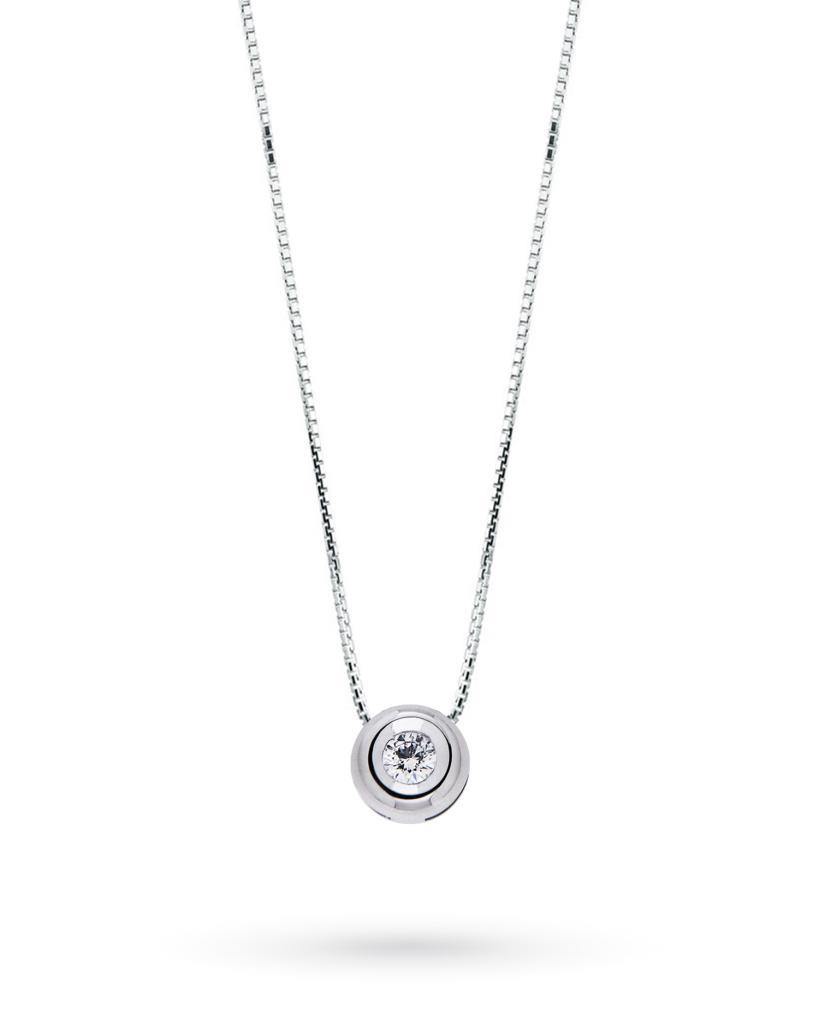 18kt white gold round solitaire necklace with diamond 0,03ct G VS - CICALA