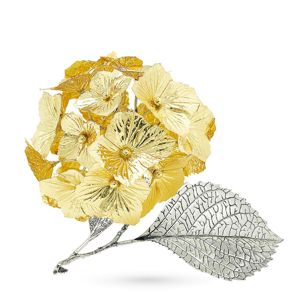 Ortensia dorata soprammobile in argento e smalto 17cm - GI.RO'ART
