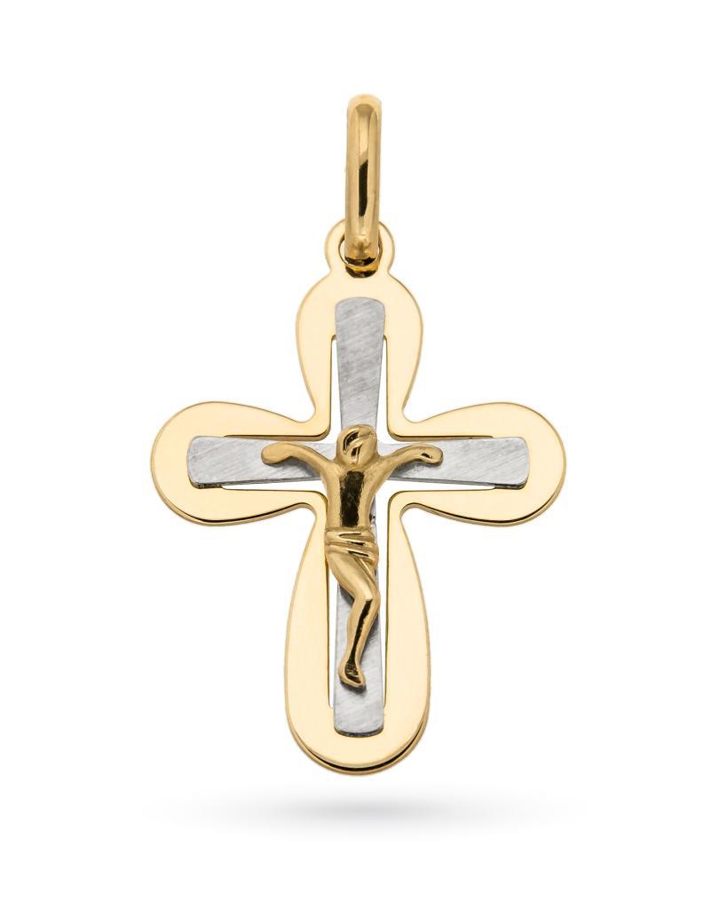 4c39e9a272 Croce con cristo crocifisso in oro giallo e bianco 18kt - UNBRANDED ...