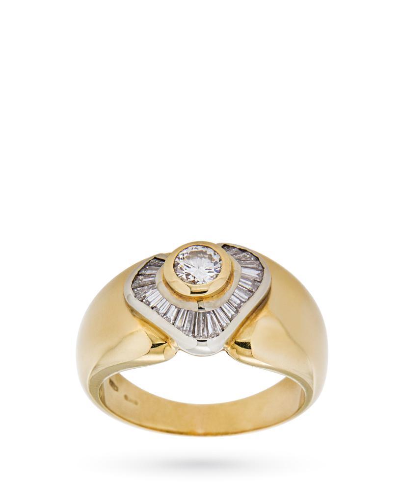 Anello vintage in oro giallo con diamanti 0,94ct H VS - CICALA