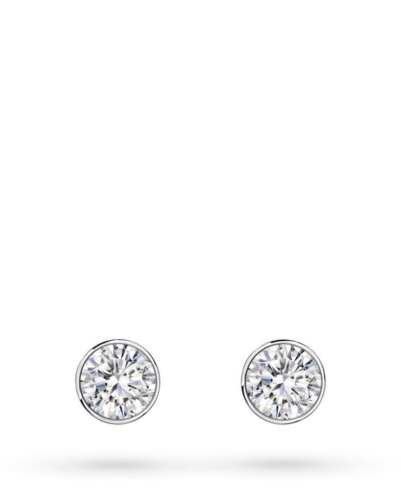 Orecchini a lobo rotondi in oro bianco con diamanti ct 0,16 D VS - CICALA