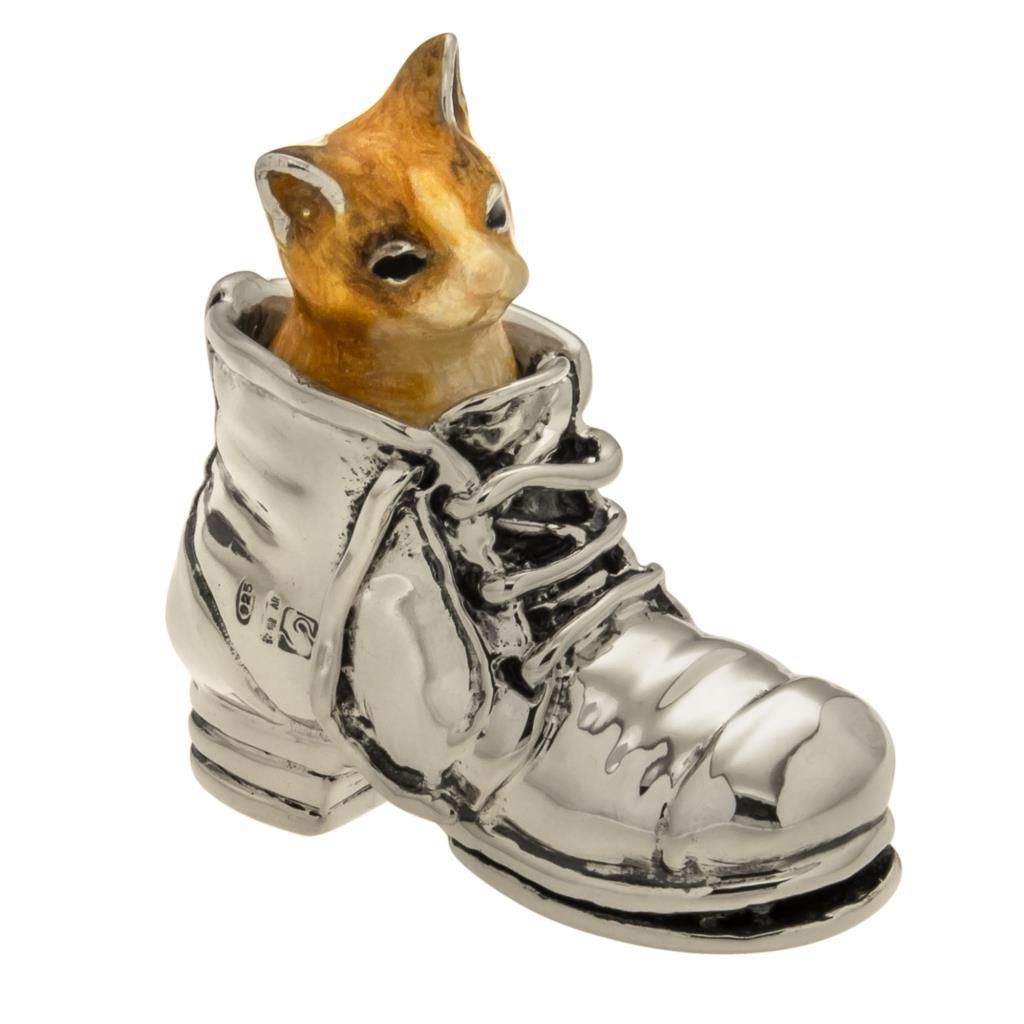 Gatto nello scarpone soprammobile in argento smaltato  - SATURNO
