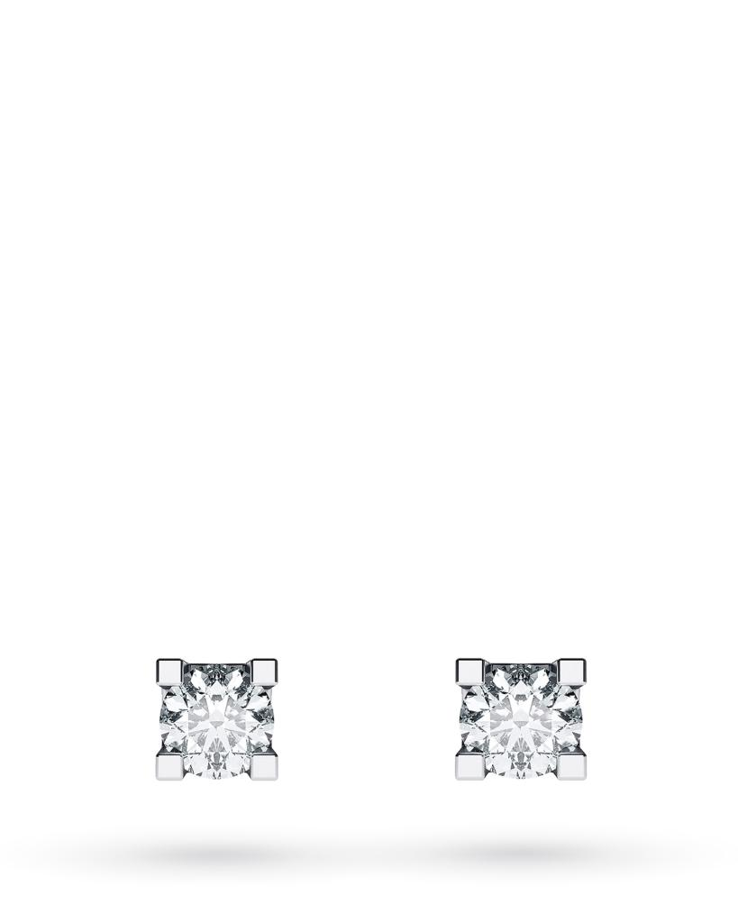 Orecchini a lobo 4 griff in oro bianco con diamanti ct 0,05 D VS - CICALA