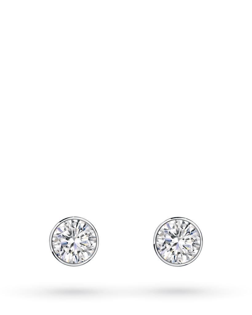Orecchini a lobo rotondi in oro bianco con diamanti ct 0,12 D VS - CICALA