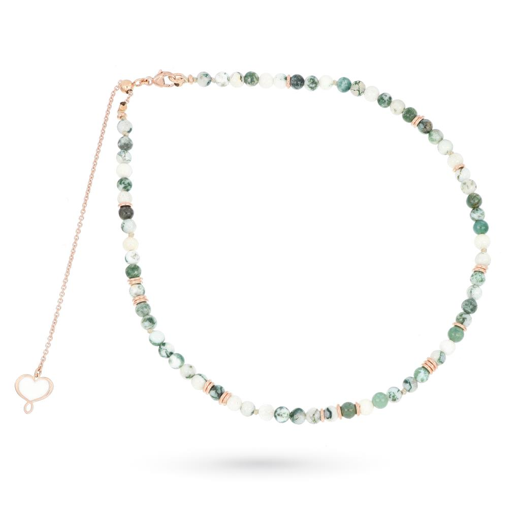 Green agate choker necklace in pink silver - MAMAN ET SOPHIE