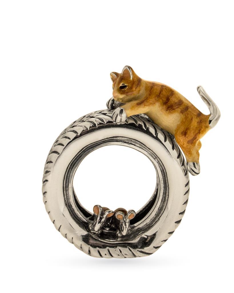 Gatto sul pneumatico soprammobile in argento e smalto - SATURNO