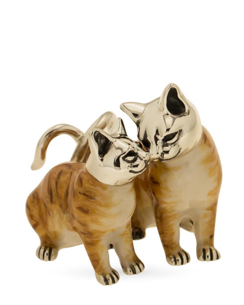 Coppia di gatti soprammobile in argento e smalti - SATURNO