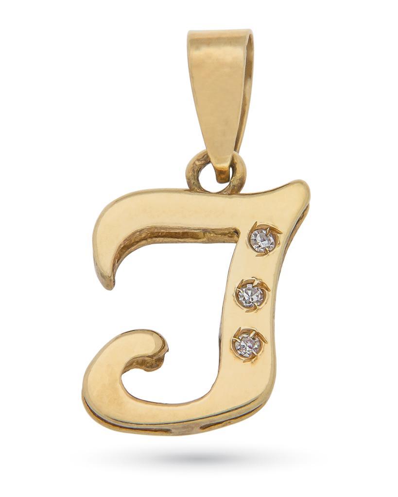 Ciondolo in oro giallo con iniziale I corsiva e 3 diamanti -
