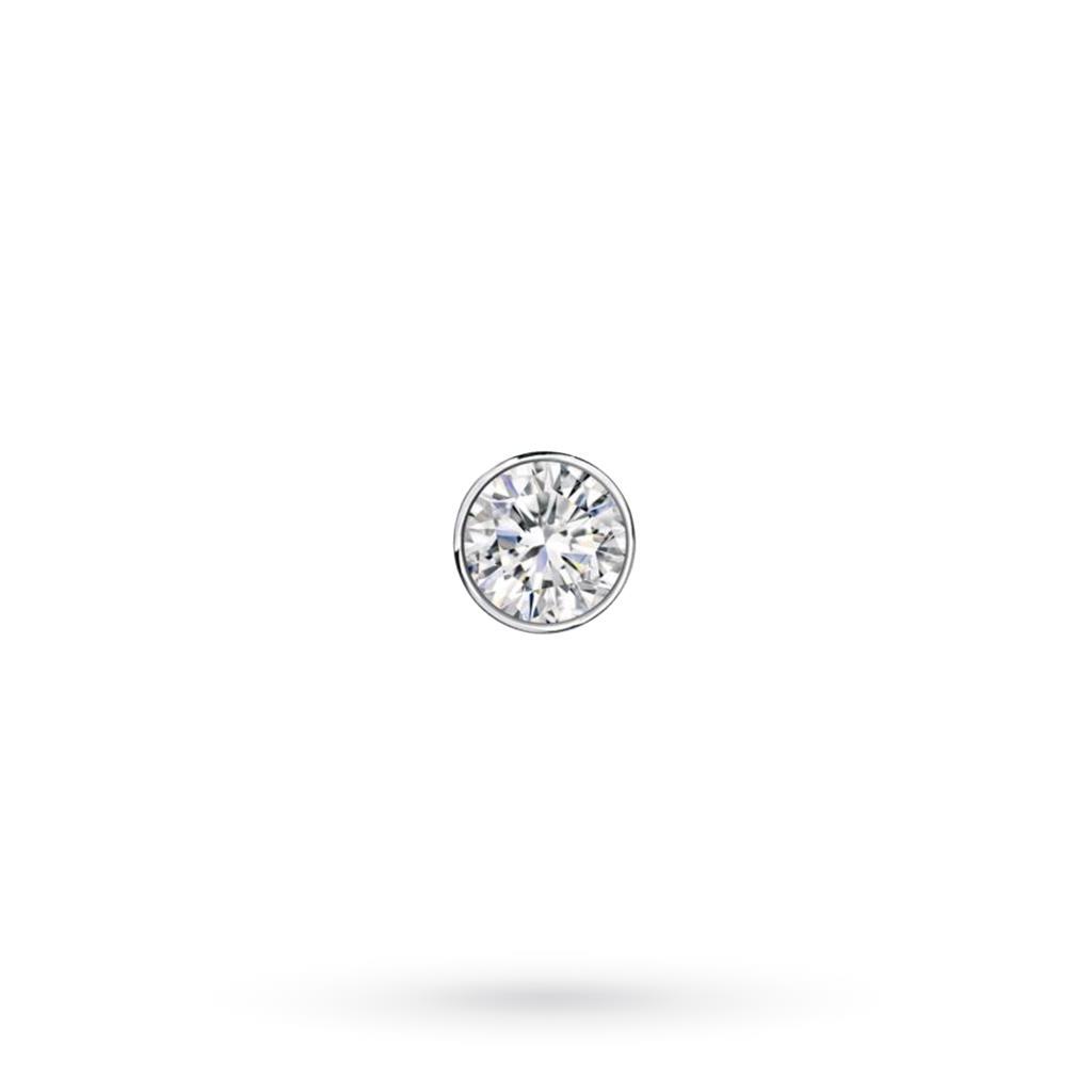 Orecchino singolo da uomo in oro bianco con diamante ct 0,06 D VS - CICALA