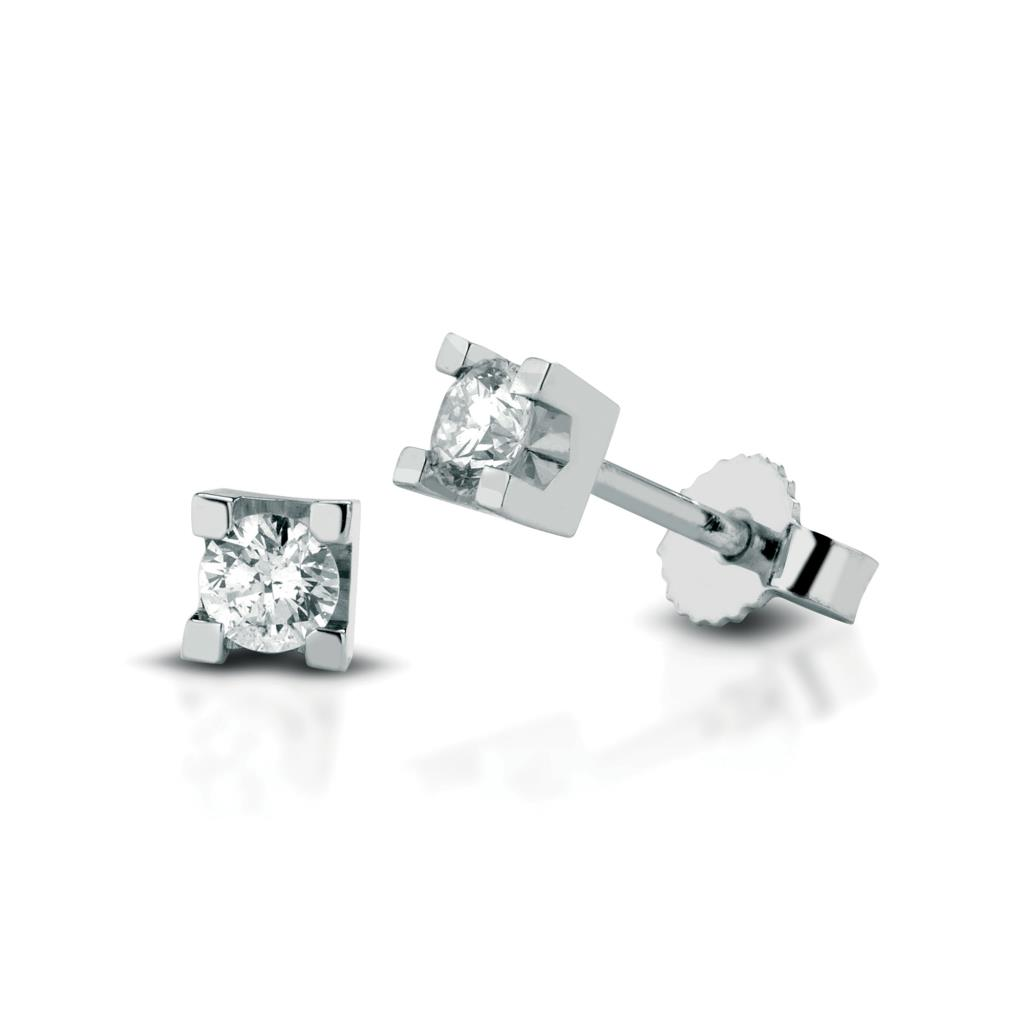 Square diamond stud earrings 18kt white gold 0,16ct - LELUNE DIAMONDS