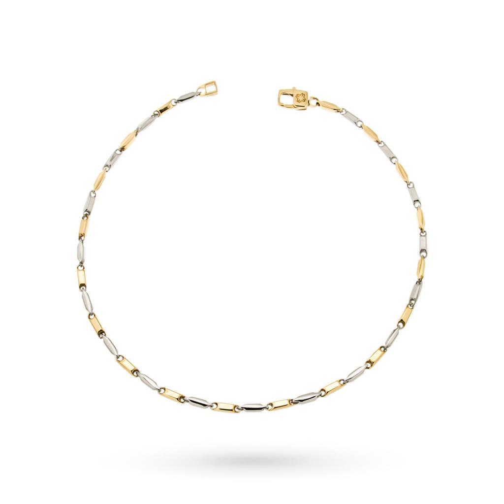 Bracciale in oro bianco e giallo 18kt maglia fantasia - CICALA