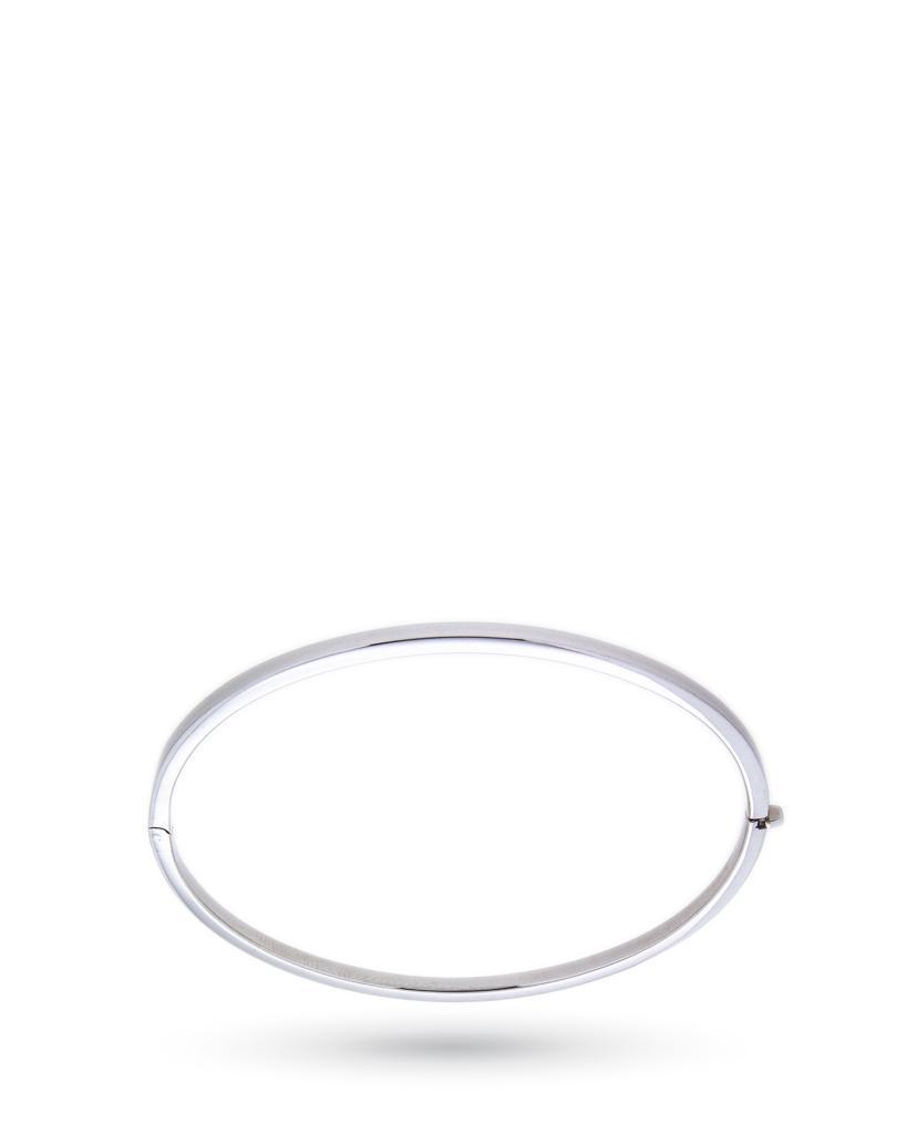 Bracciale rigido sottile in oro bianco lucido - UNBRANDED