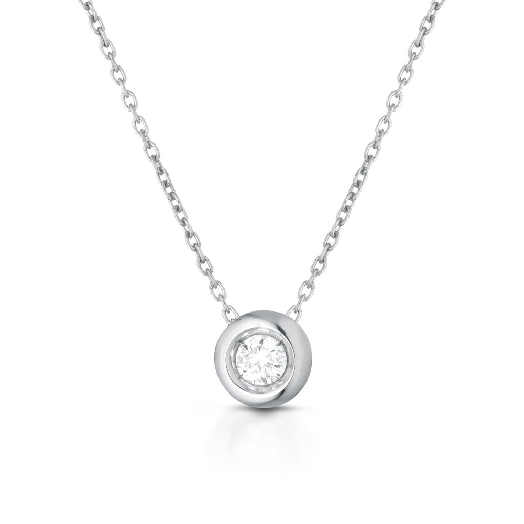 Round solitaire necklace gold and diamond 0,05ct - LELUNE DIAMONDS