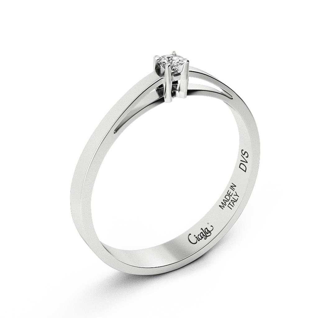 Anello di fidanzamento D Color con diamante 0,10ct D VS - CICALA