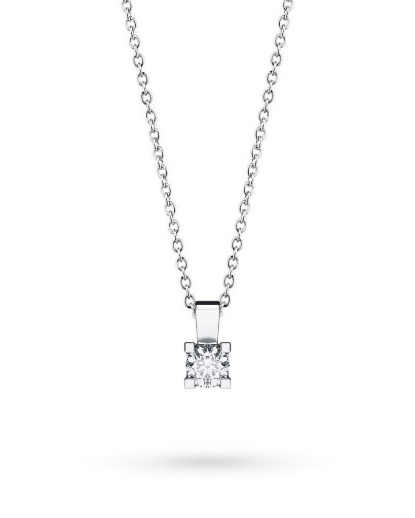 Girocollo punto luce in oro bianco con diamante D VS 0,15ct - CICALA