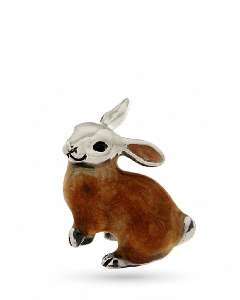 Coniglio piccolo soprammobile in argento e smalto  - SATURNO