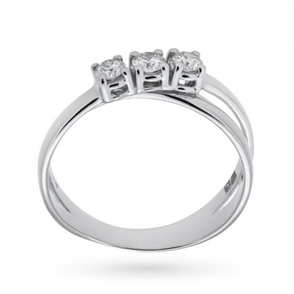 Anello trilogy con diamanti ct 0,31 F VS e doppia fascia intrecciata  - MIRCO VISCONTI