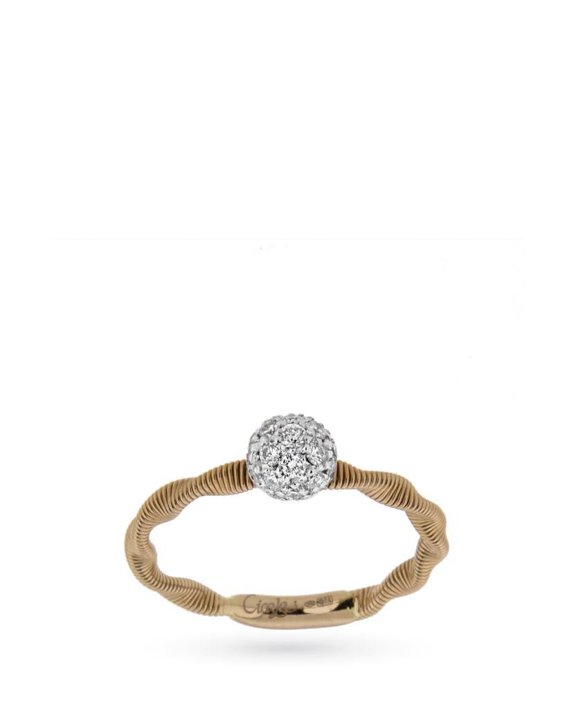 Anello in oro rosa con sfera di diamanti taglio brillante - ORO TREND