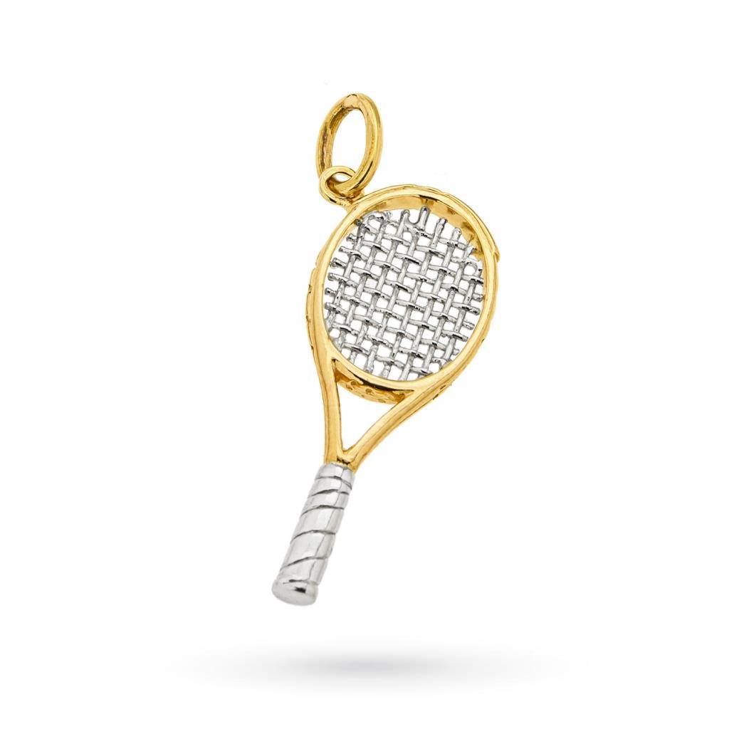 Tennis racket charm in 18kt white and yellow gold - CICALA