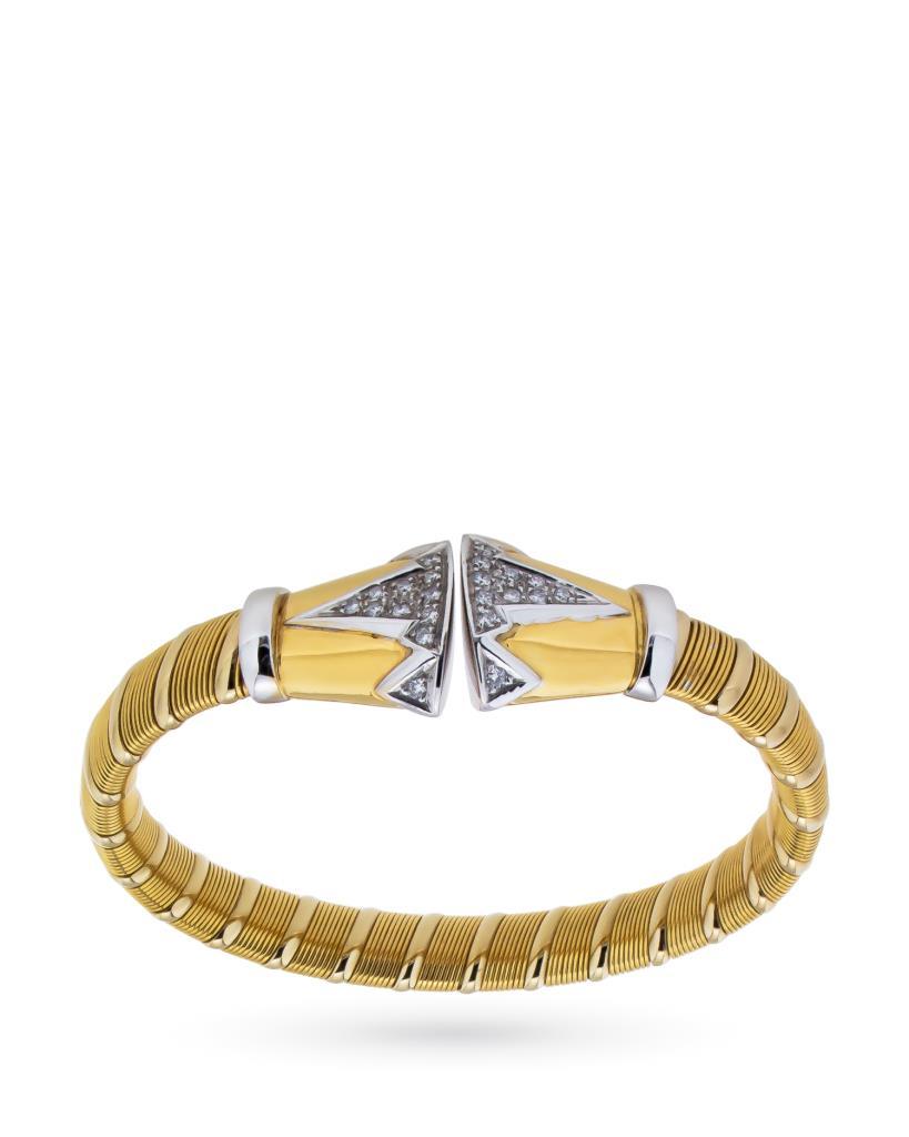 Bracciale rigido in oro giallo e bianco con diamanti - MAXART