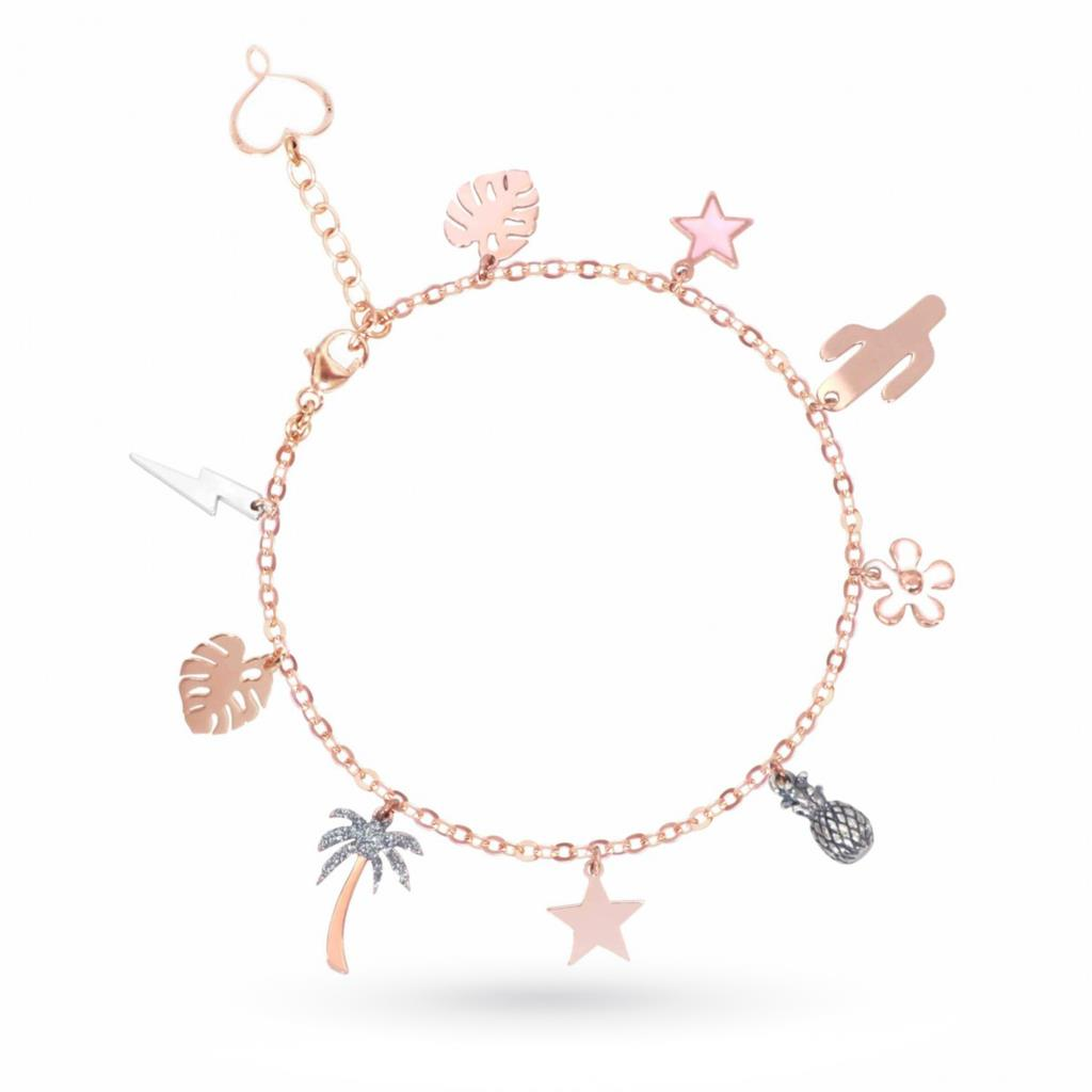 Bracelet with pendant charms in 925 silver rose gold plated - MAMAN ET SOPHIE