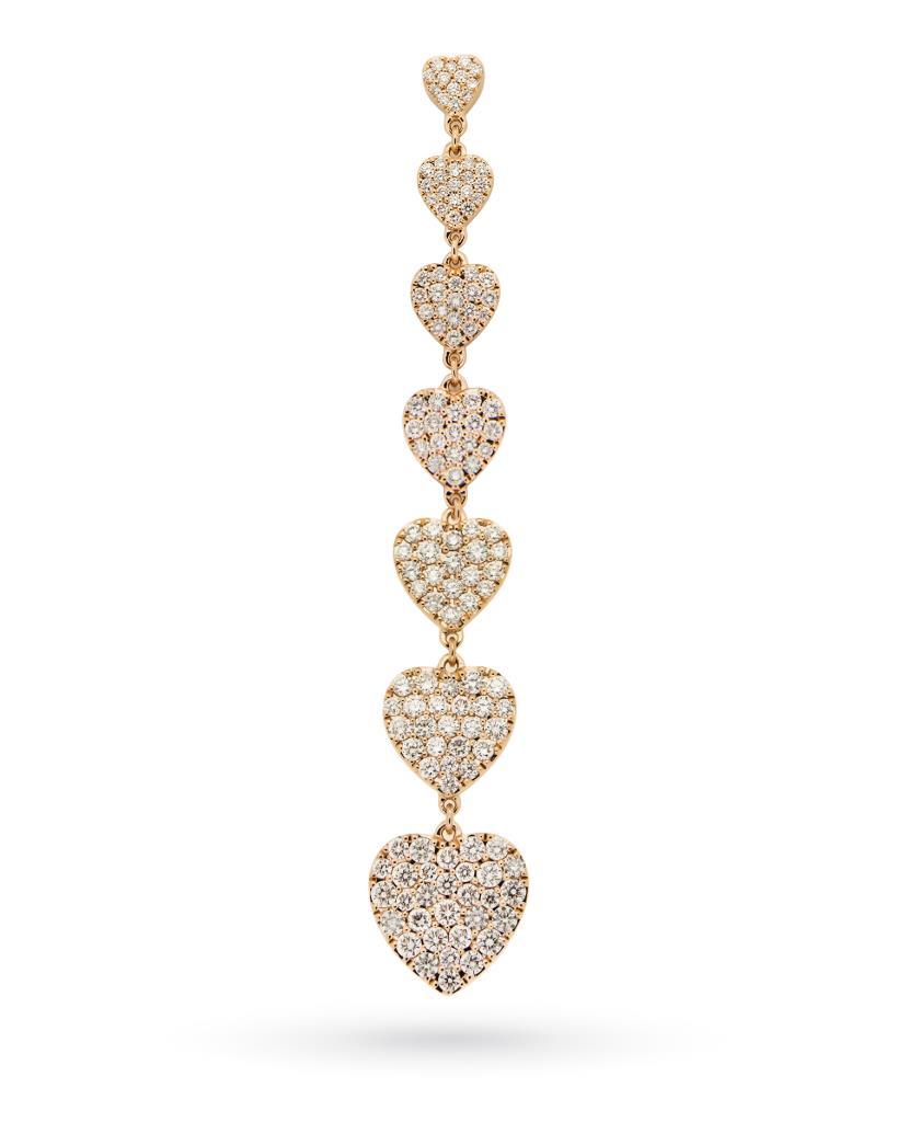 Mono orecchino con 7 cuoricini di diamanti e oro rosa 18kt - CICALA
