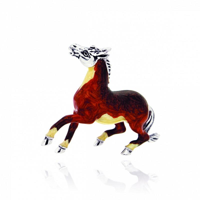Cavallo impennato soprammobile in argento e smalto - SATURNO