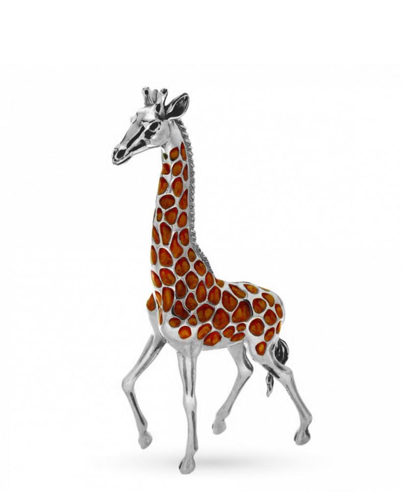 Giraffa grande soprammobile in argento e smalto  - SATURNO
