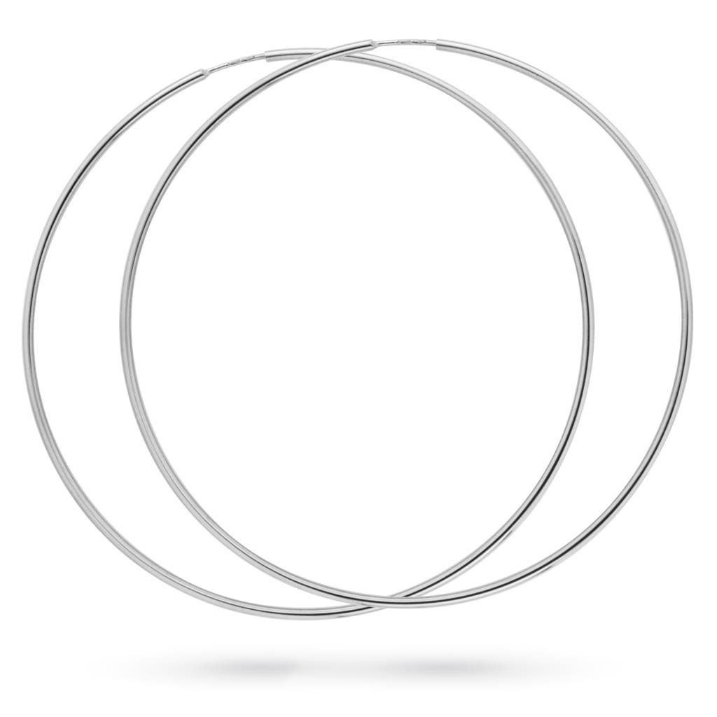 Orecchini a cerchio in oro bianco 18kt a canna liscia Ø 7cm - CICALA