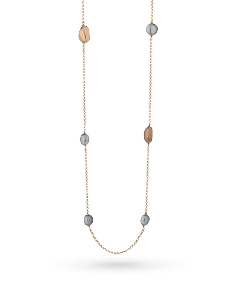 925 Sterling silver necklace with 6 grey pearls and 2 pink silver elements - LELUNE