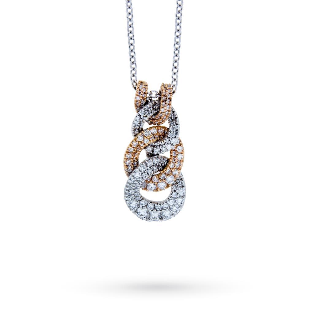 Girocollo con catena di diamanti in oro bianco e rosa - MIRCO VISCONTI