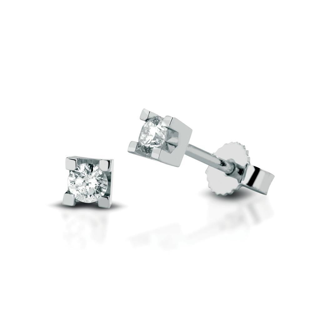 Square diamond stud earrings 18kt white gold 0,06ct - LELUNE DIAMONDS