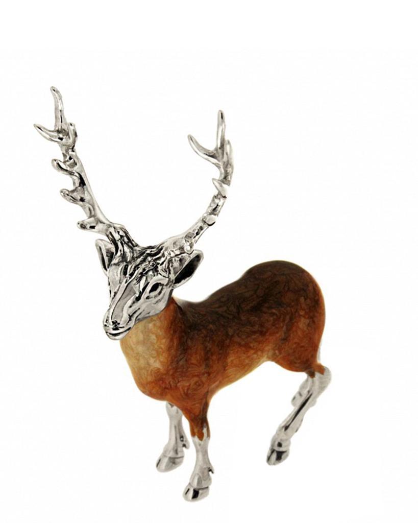 Cervo medio soprammobile in argento e smalto  - SATURNO