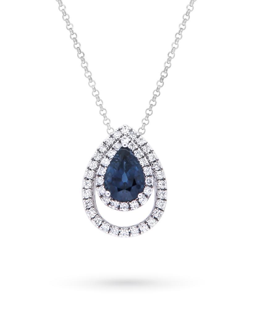 Girocollo con goccia di zaffiro e doppio contorno di diamanti - MIRCO VISCONTI