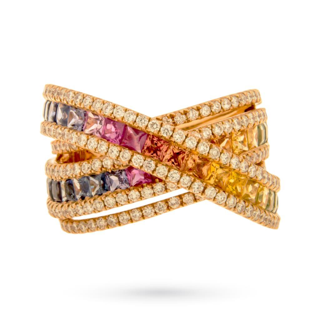 Anello in oro rosa a fascia intrecciata con zaffiri multicolor e brillanti - CICALA