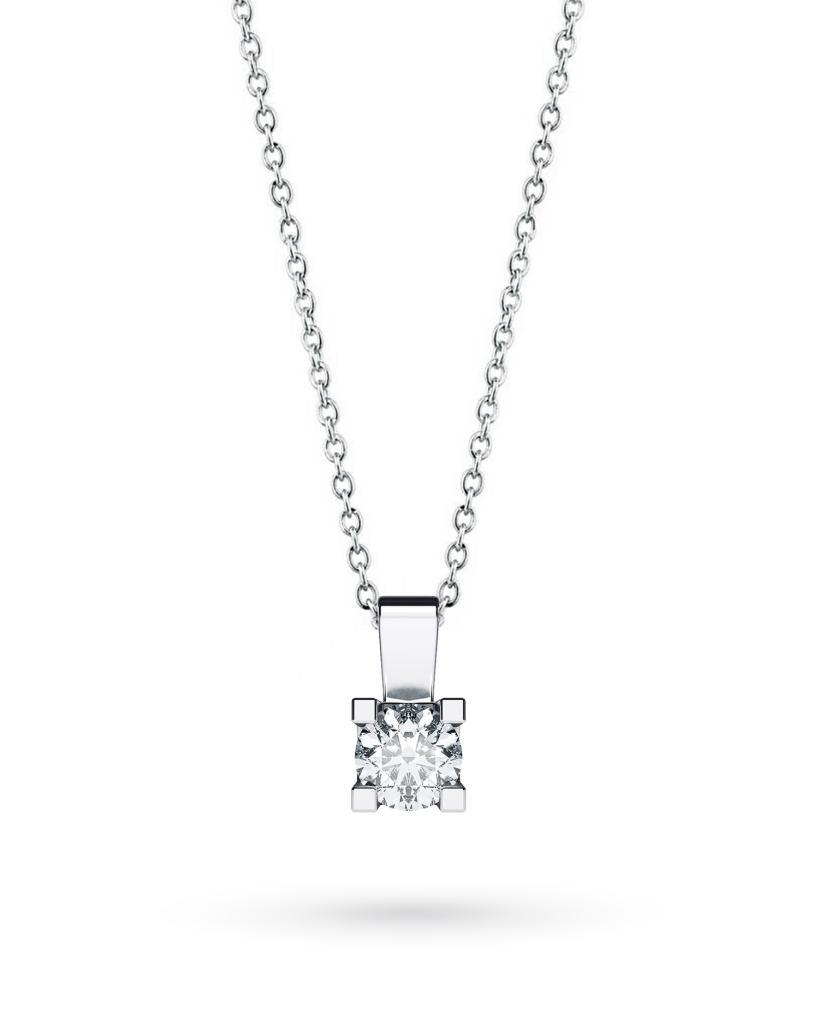 Girocollo punto luce in oro bianco con diamante D VS 0,30ct - CICALA