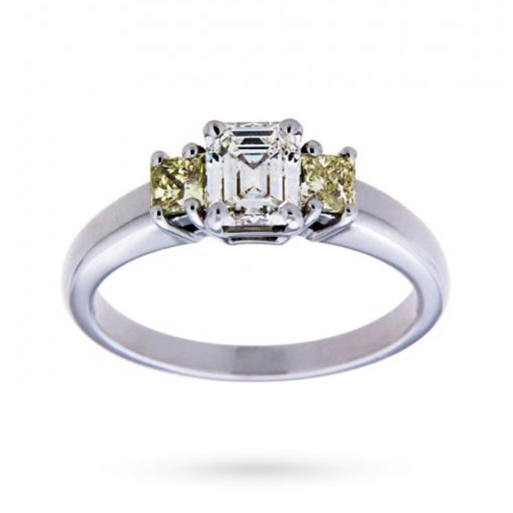 Trilogy in oro bianco con diamanti fancy taglio smeraldo e princess 1,15ct  - CICALA