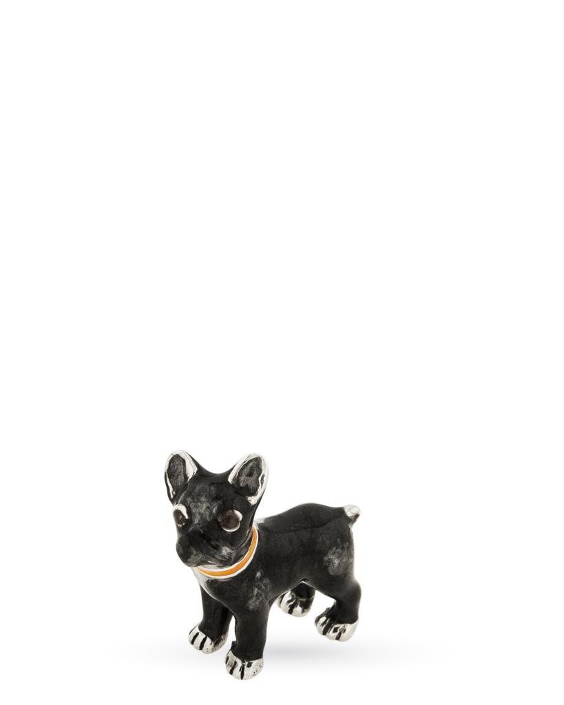 Bulldog francese mini soprammobile in argento e smalto - SATURNO