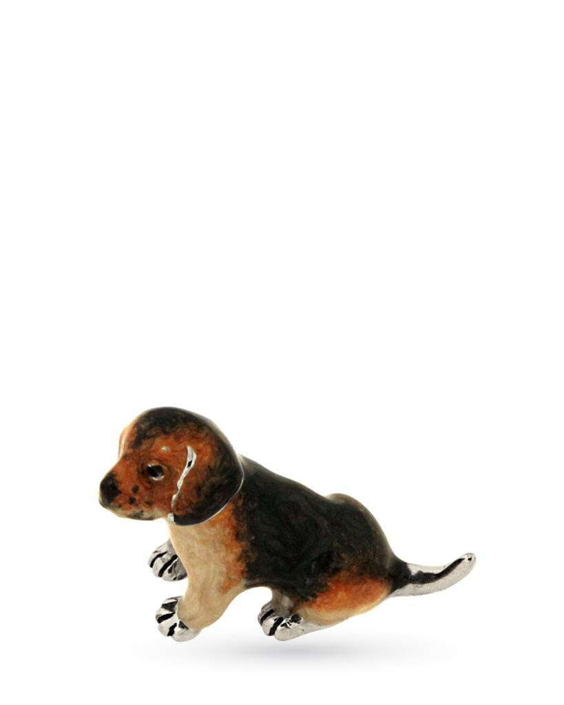 Beagle cucciolo seduto soprammobile in argento e smalto - SATURNO