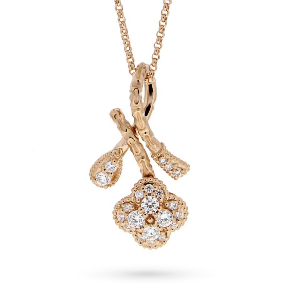 Girocollo in oro rosa con fiori di diamanti 0,67ct - ORO TREND