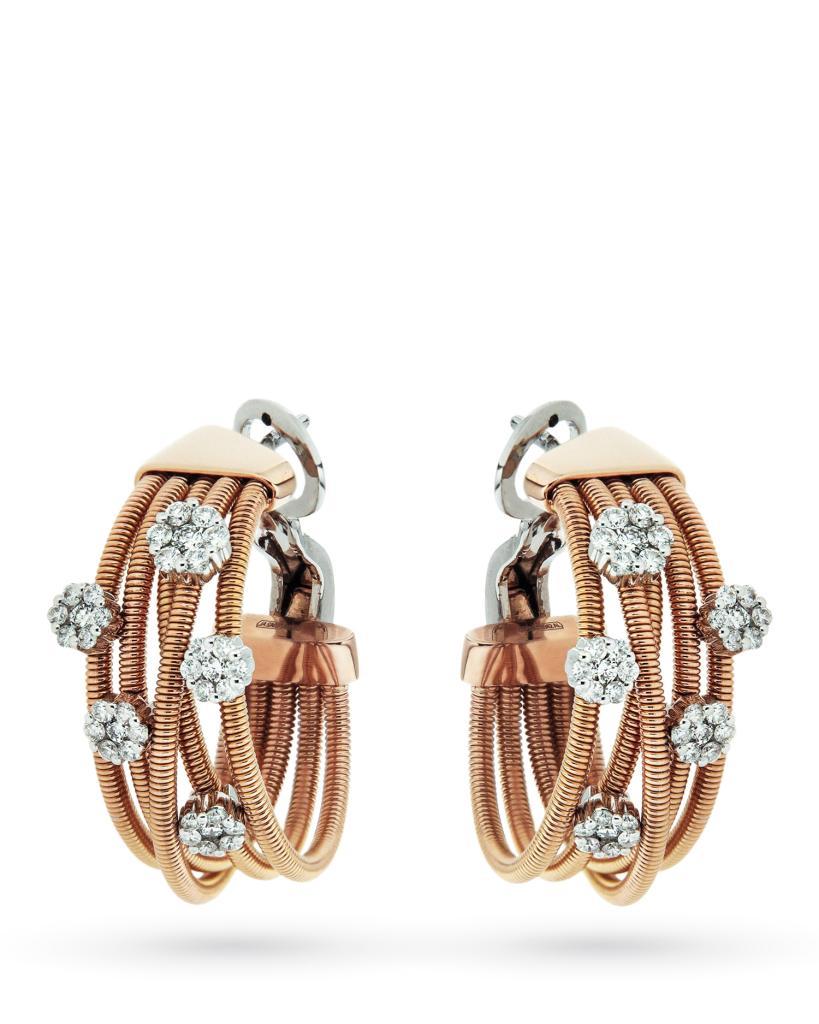 Orecchini in oro rosa con 5 fiori di diamanti - ORO TREND