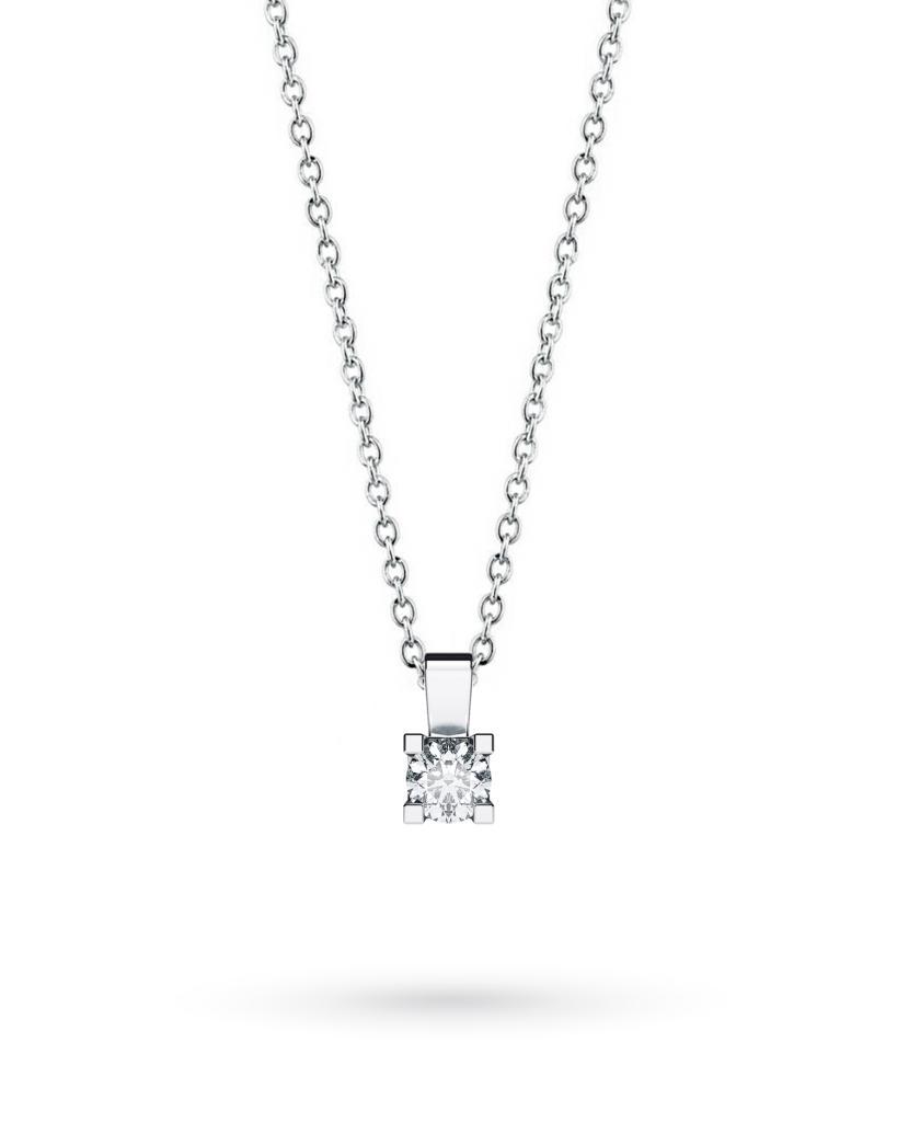 Girocollo punto luce in oro bianco con diamante D VS 0,10ct - CICALA