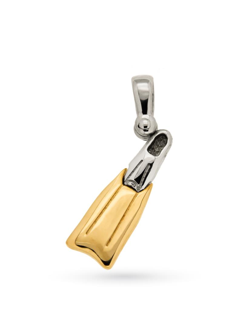 ec8392d217 Ciondolo pinna da sub in oro bianco e giallo - CICALA - Cicala.it