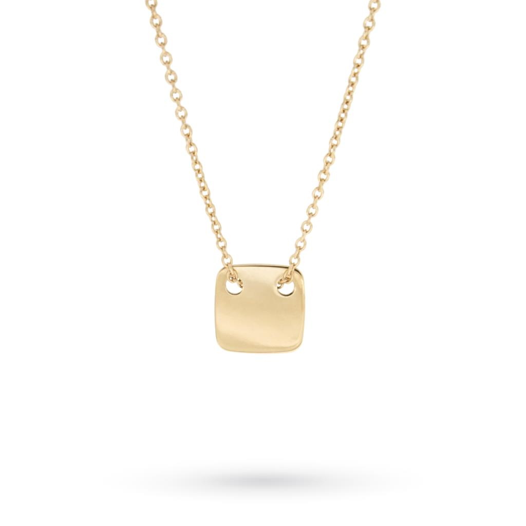 Necklace with square plate in 18kt yellow gold - CICALA