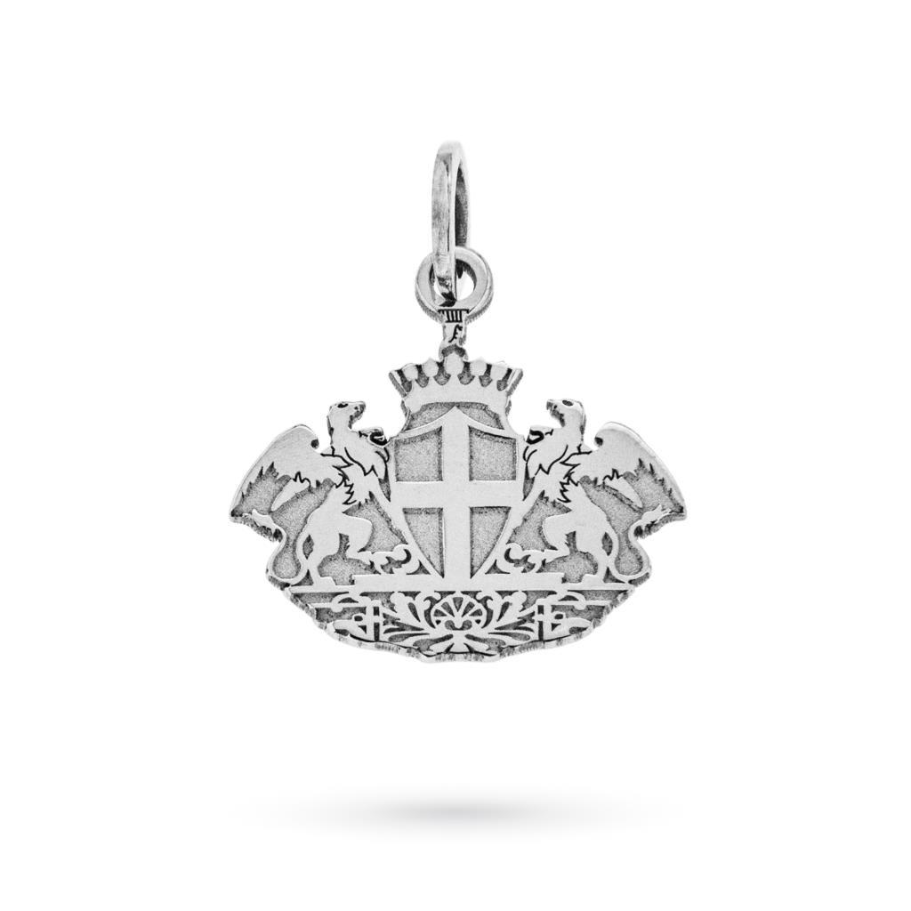 Ciondolo stemma di Genova in oro bianco 18kt - CICALA