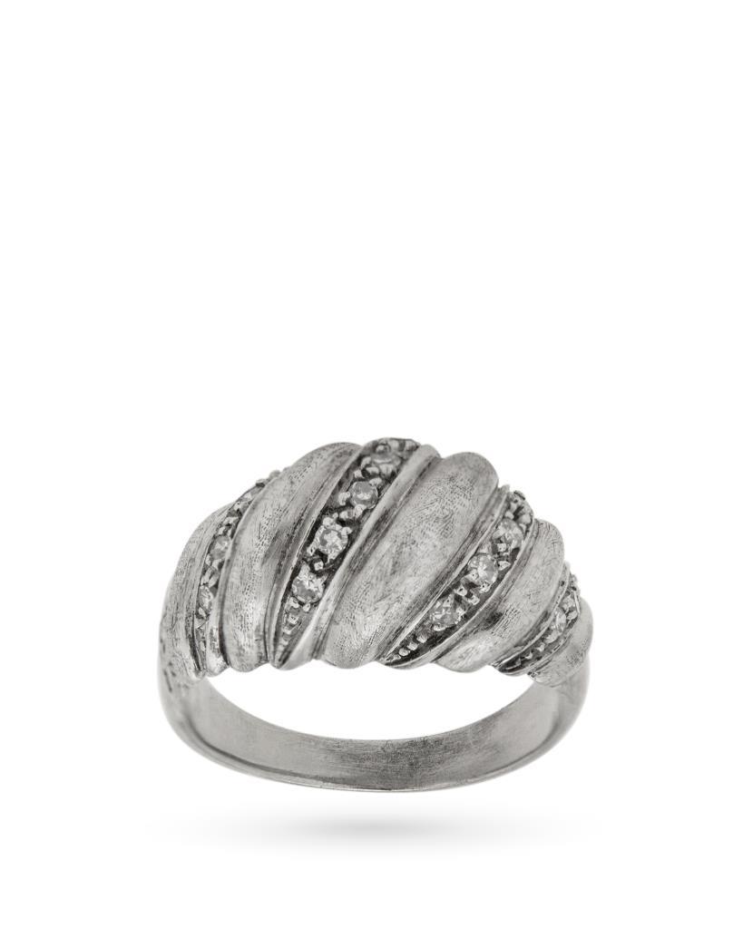 Anello in oro bianco lucido e satinato con diamanti - UNBRANDED