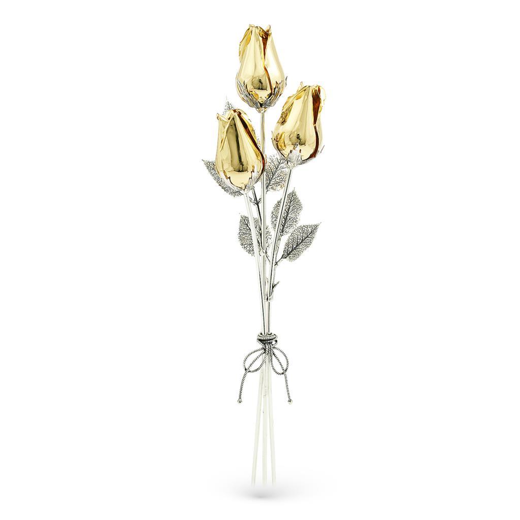 Mazzolino di rose dorate soprammobile in argento e smalto 25cm - GI.RO'ART