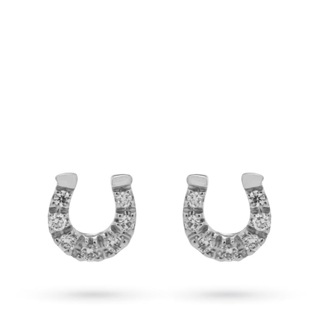 Orecchini in oro bianco con ferro di cavallo e diamanti - MIRCO VISCONTI
