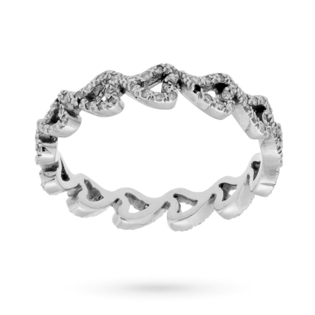 Fedina in oro bianco con cuori e diamanti  - CICALA